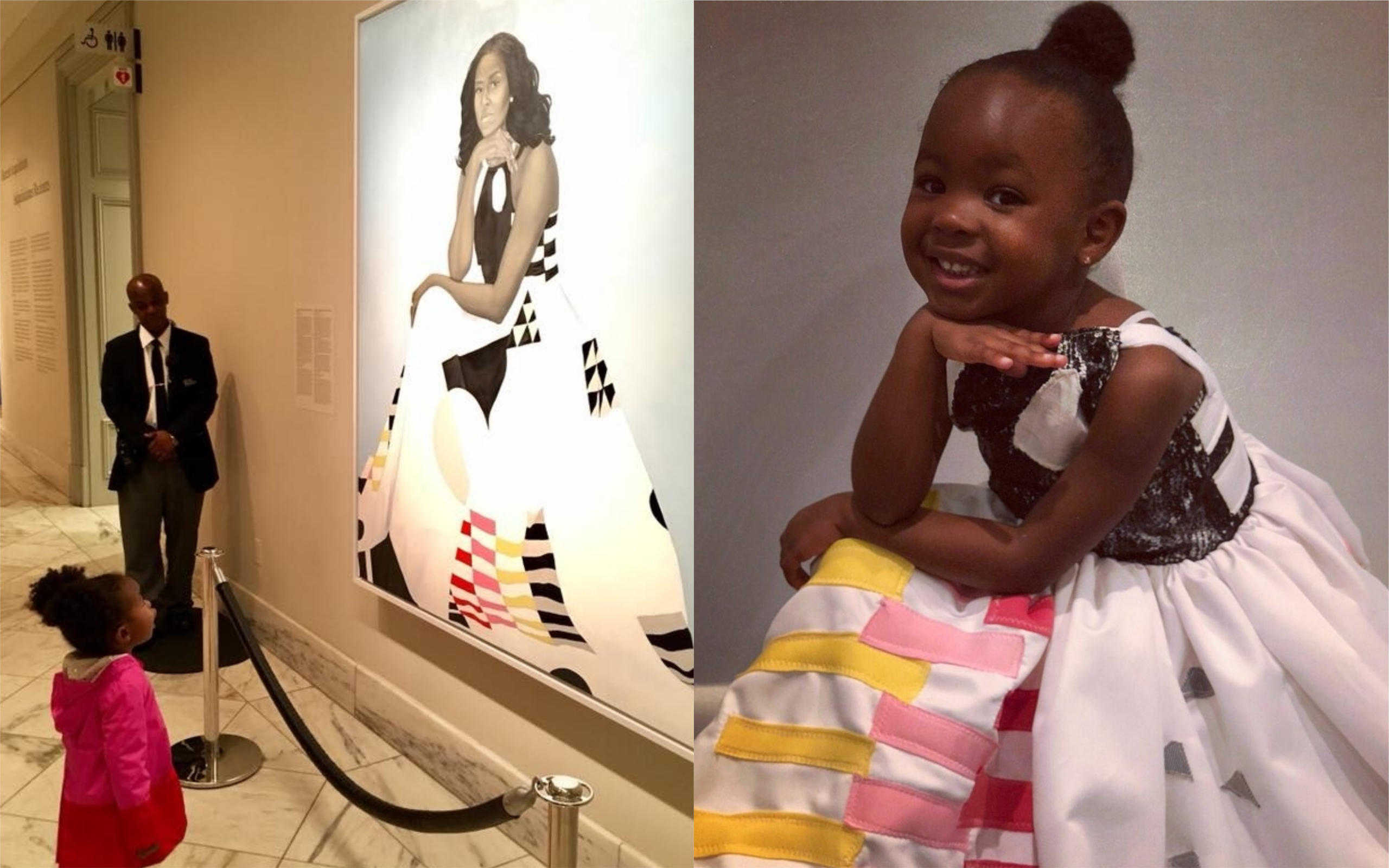 0812bfbdd57 Little girl obsessed with Michelle Obama s portrait dressed as her for  Halloween