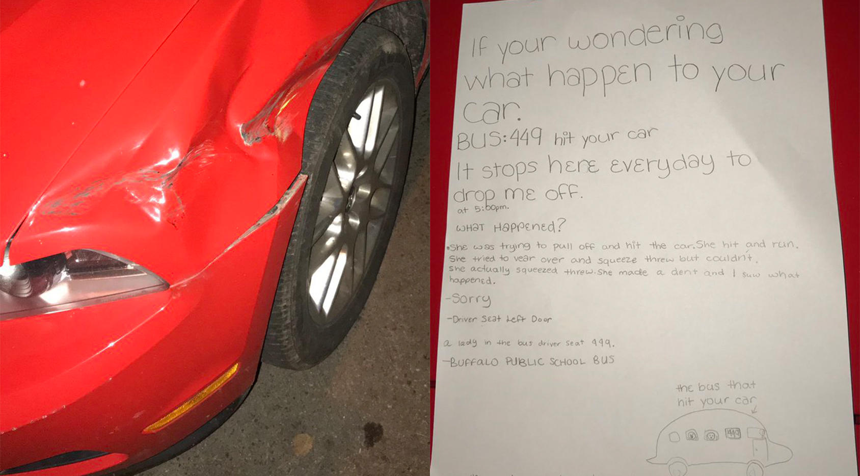 buffalo 6th grader leaves note after her school bus damages car in