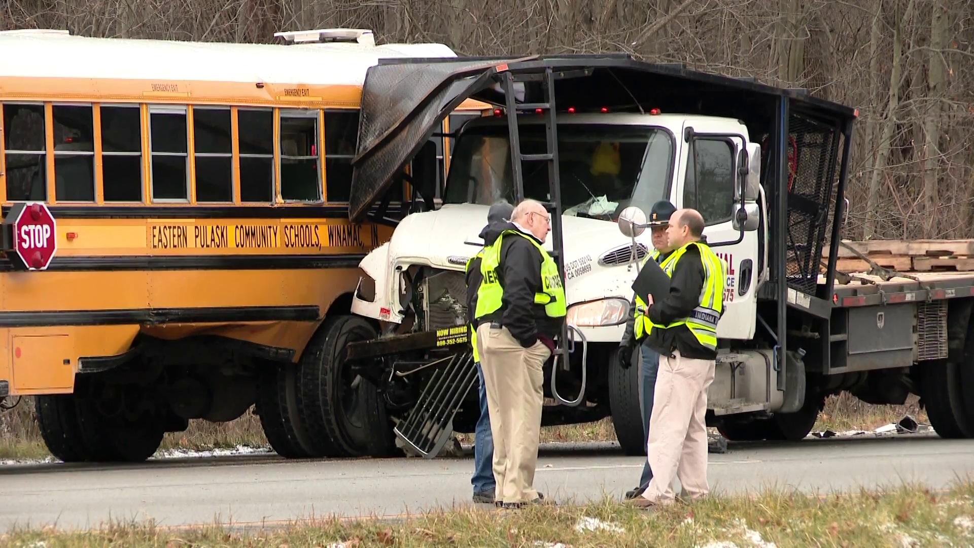 Teen killed when truck crashes into school bus on field trip in Indiana