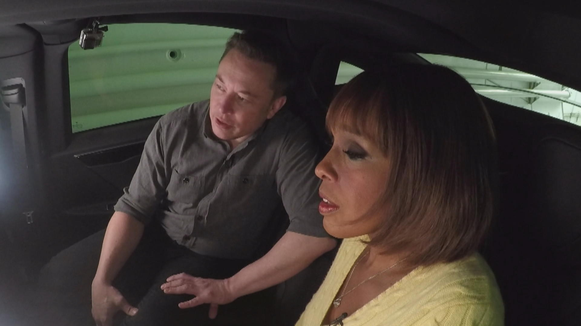 Elon Musk and Gayle King test drive the tunnel he hopes will solve