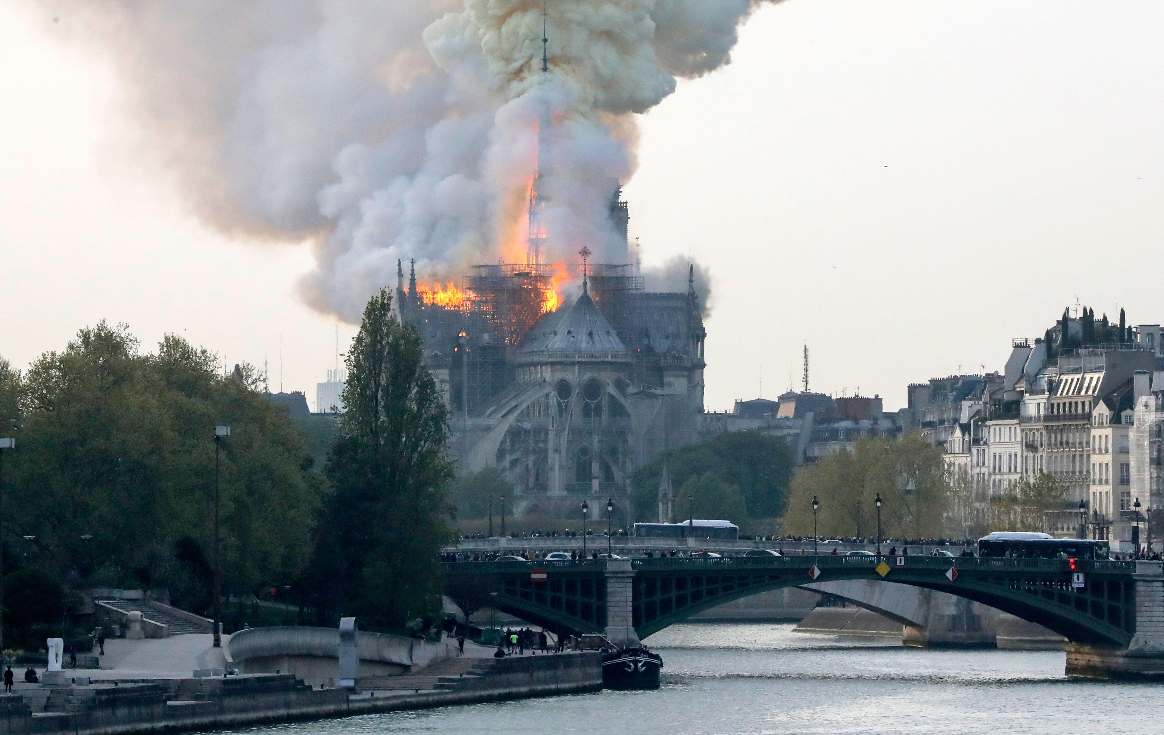 Fire rages at Notre Dame Cathedral in Paris