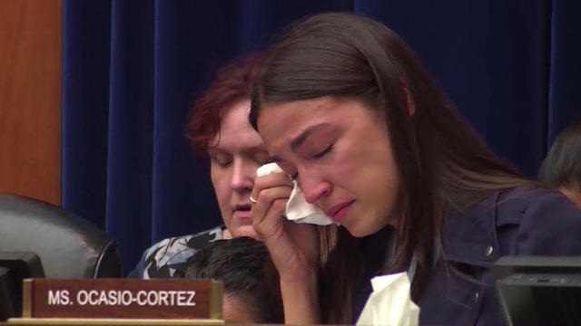 Alexandria Ocasio-Cortez tears up while hearing story of child who died  after being held by ICE - CBS News