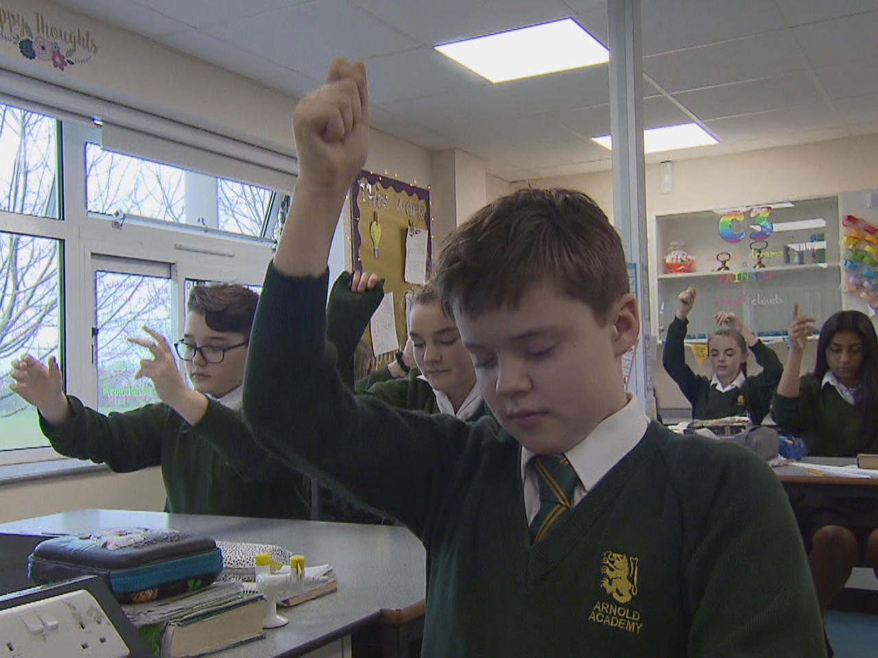 Mindfulness techniques teaching U K  students to calm down