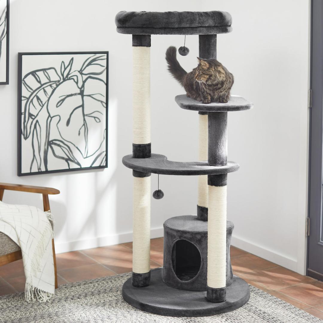 Frisco 59.5-in Heavy Duty Faux Fur Cat Tree & Condo