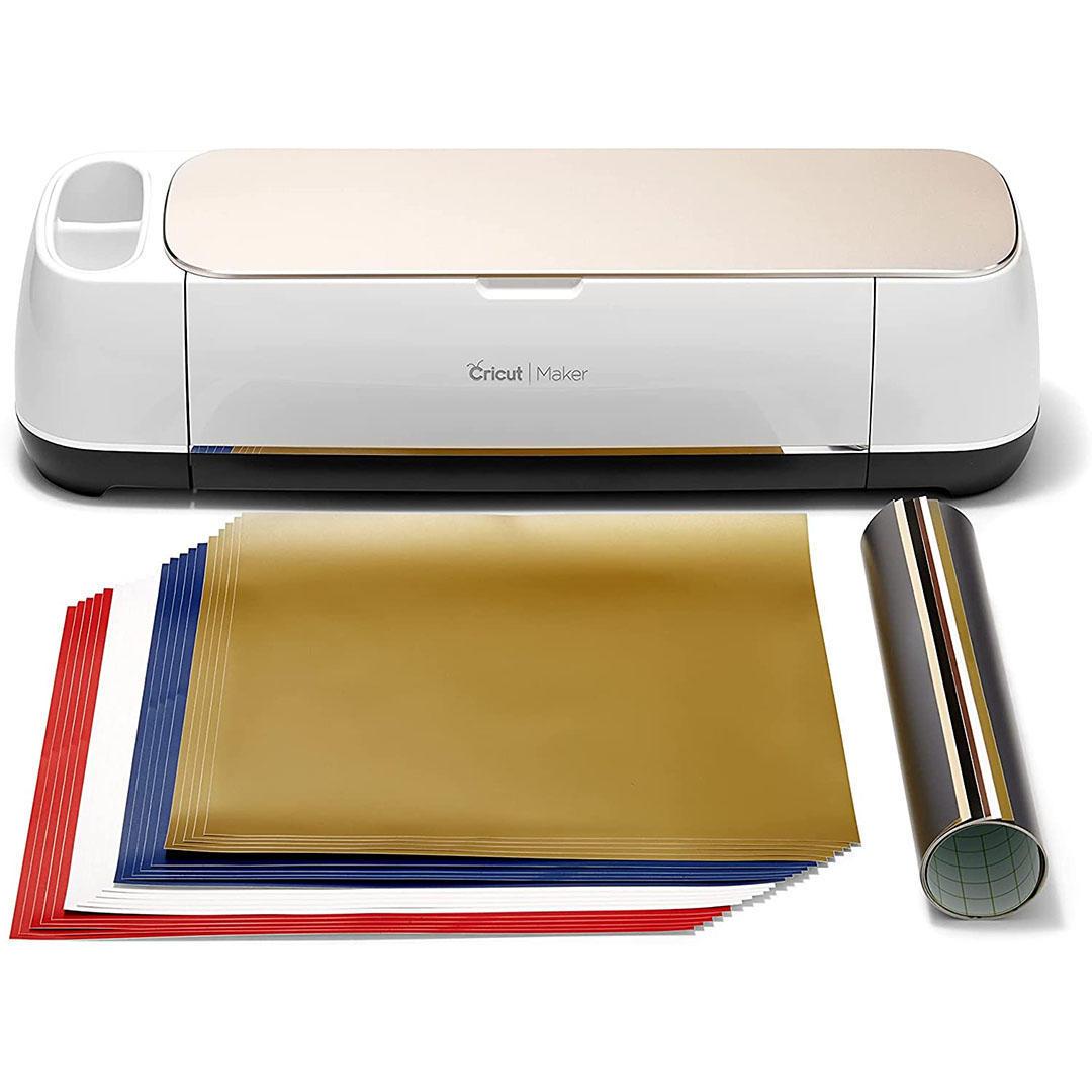 Cricut Maker Vinyl Bundle - Includes Cricut Maker Machine + 20 Premium Removable Vinyl Sheets + 6 Premium Permanent Vinyl Sheets