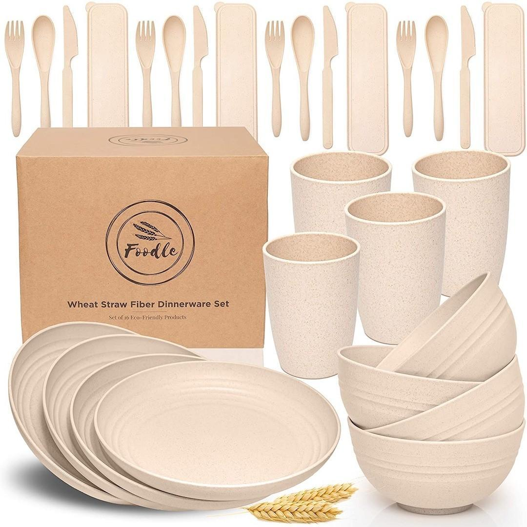 FOODLE Wheat Straw Dinnerware Sets - (28pcs) Lightweight & Unbreakable Dinnerware Set - Microwave and Dishwasher Safe