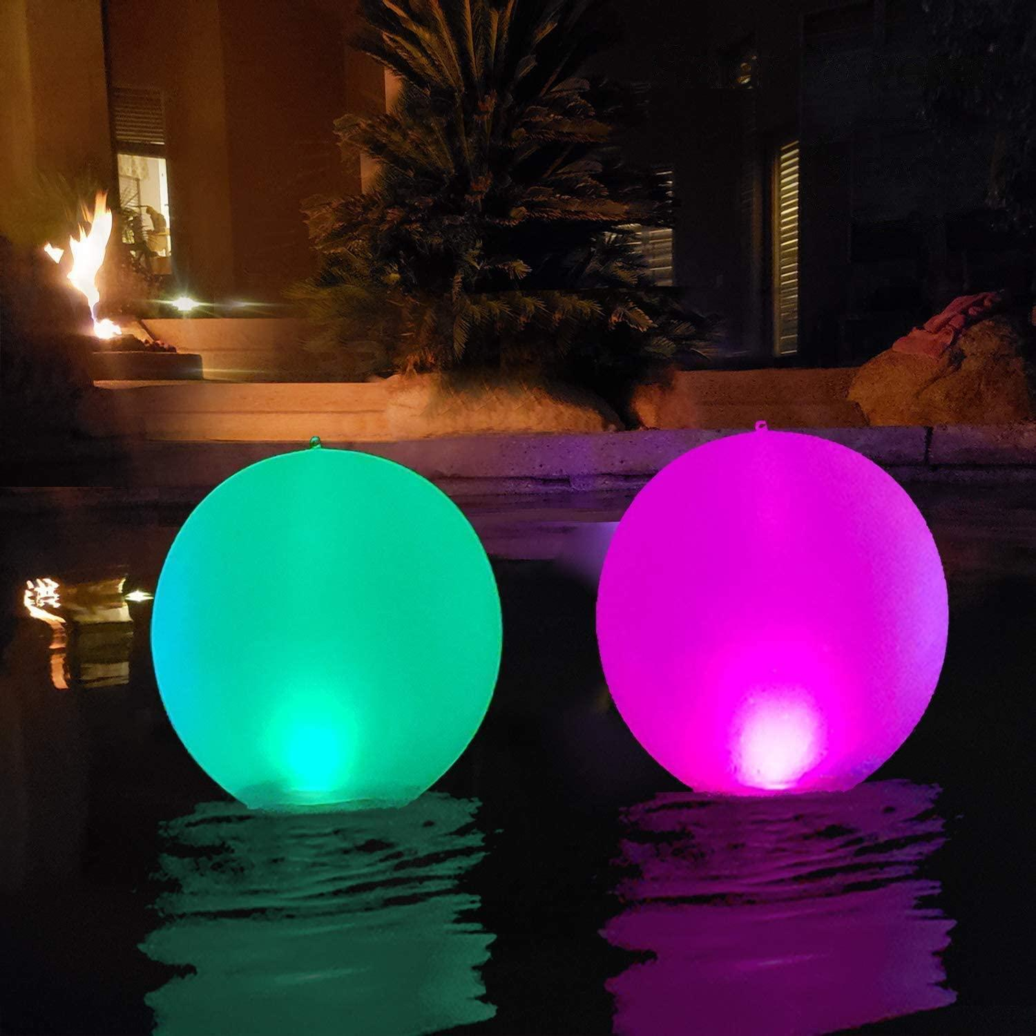 a pair of floating solar lights