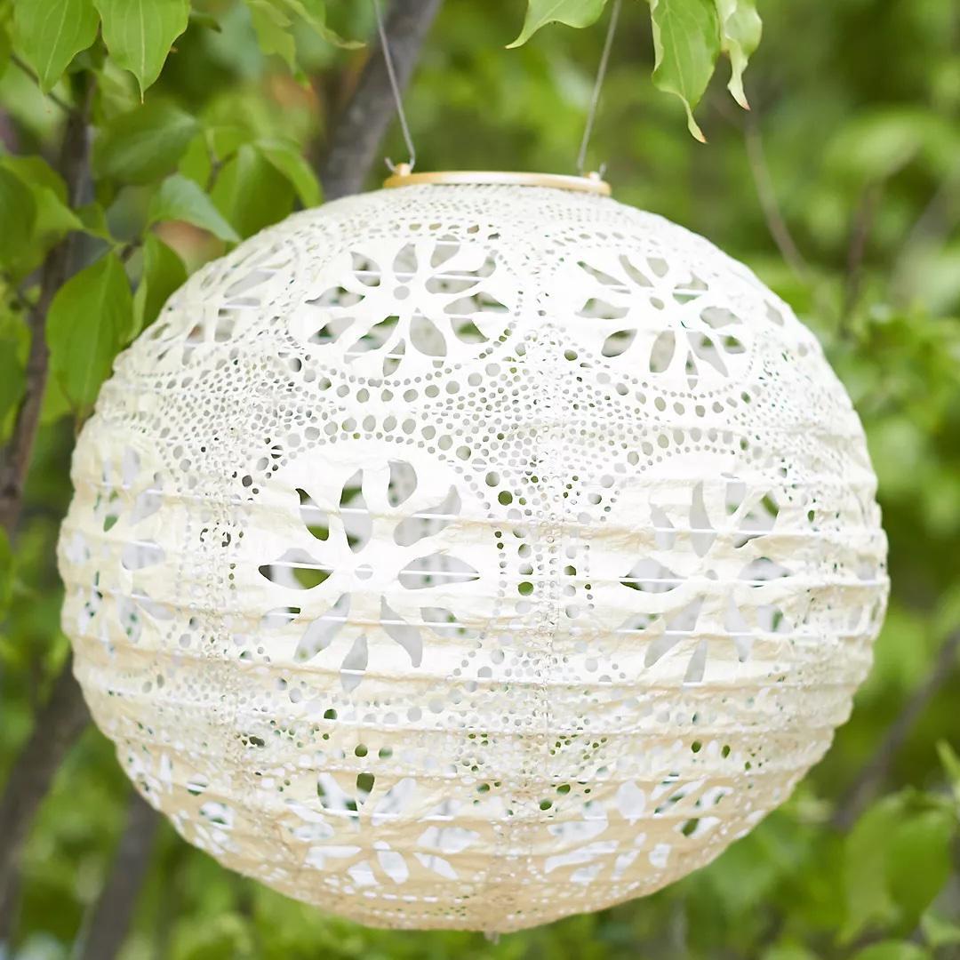 Terrain floral lace solar lantern