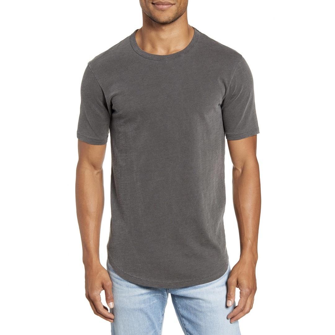 Goodlife sun-faded slub scallop crew T-shirt