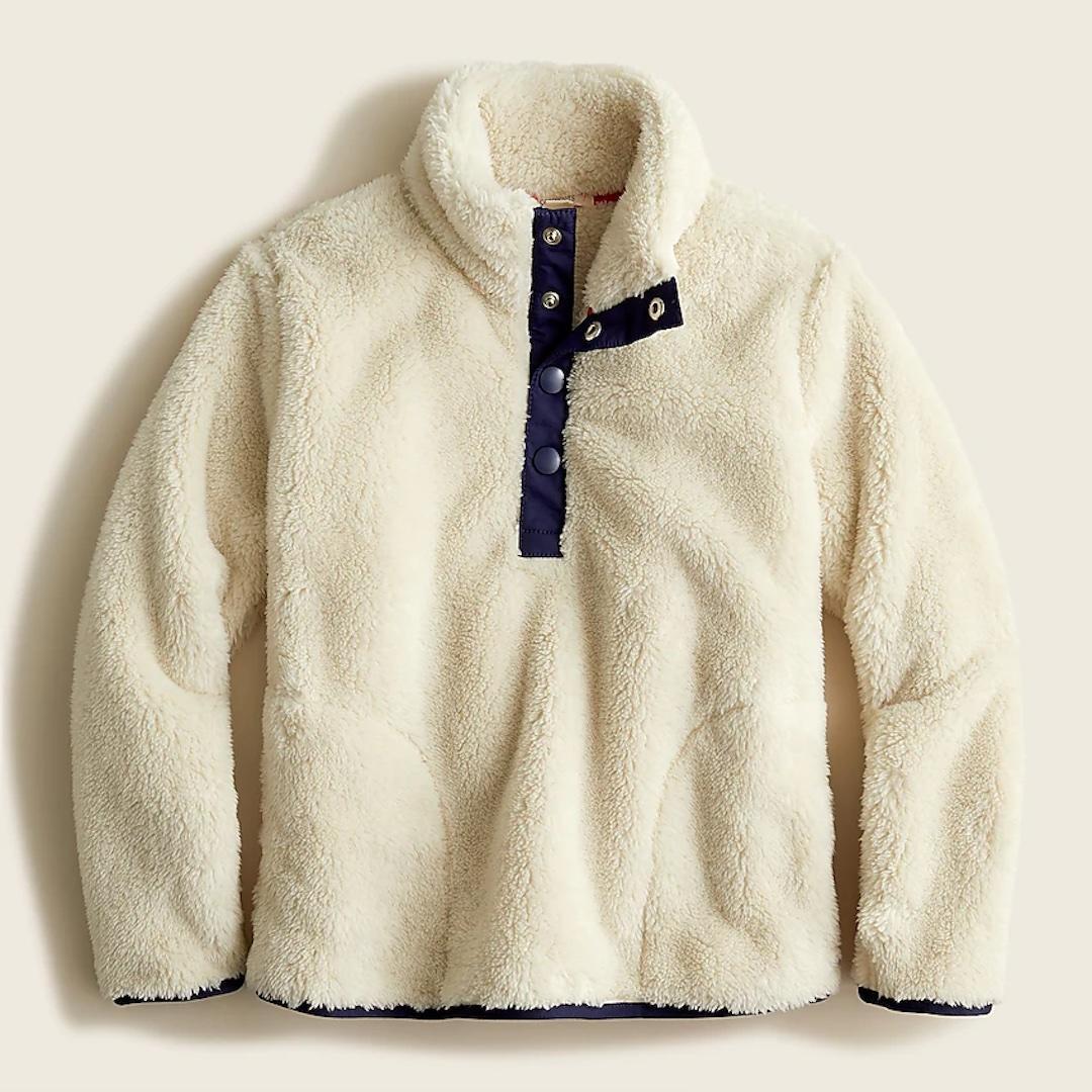 J.Crew girls' sherpa half-snap pullover