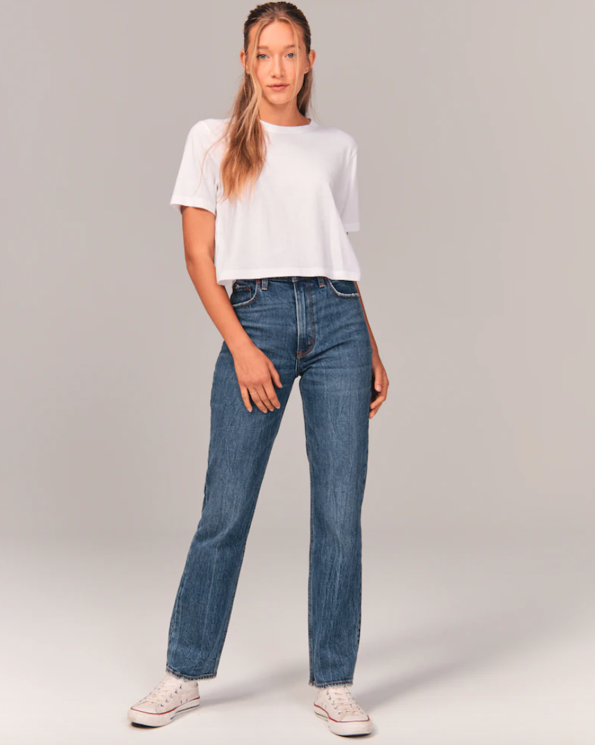 90's ultra high rise straight jeans in dark wash