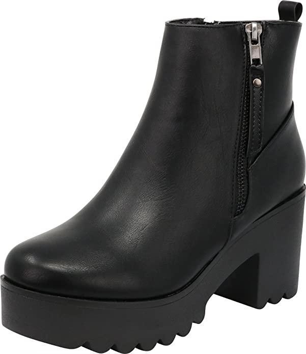 Cambridge Select lug sole platform ankle bootie