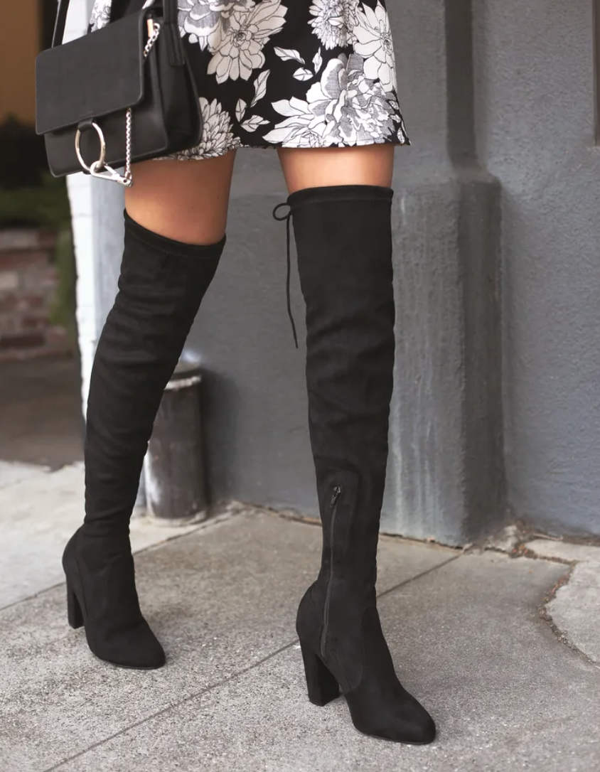 Lulus So Much Yes black suede over-the-knee boots