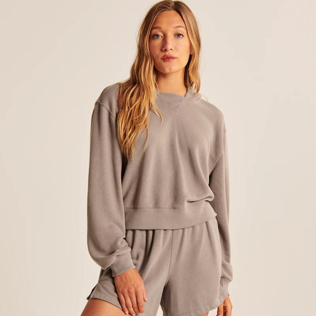 Abercrombie & Fitch Cloud Terry Wedge Popover Hoodie