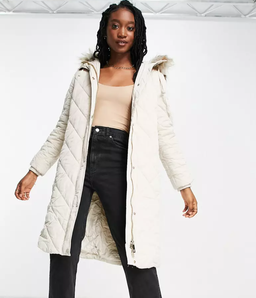ASOS Ever New diamond quilted puffer coat with faux fur hood trim