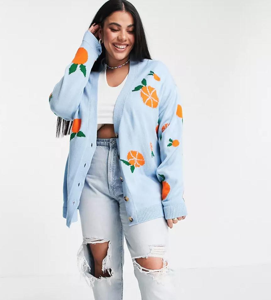 ASOS Design cardigan with fruit pattern