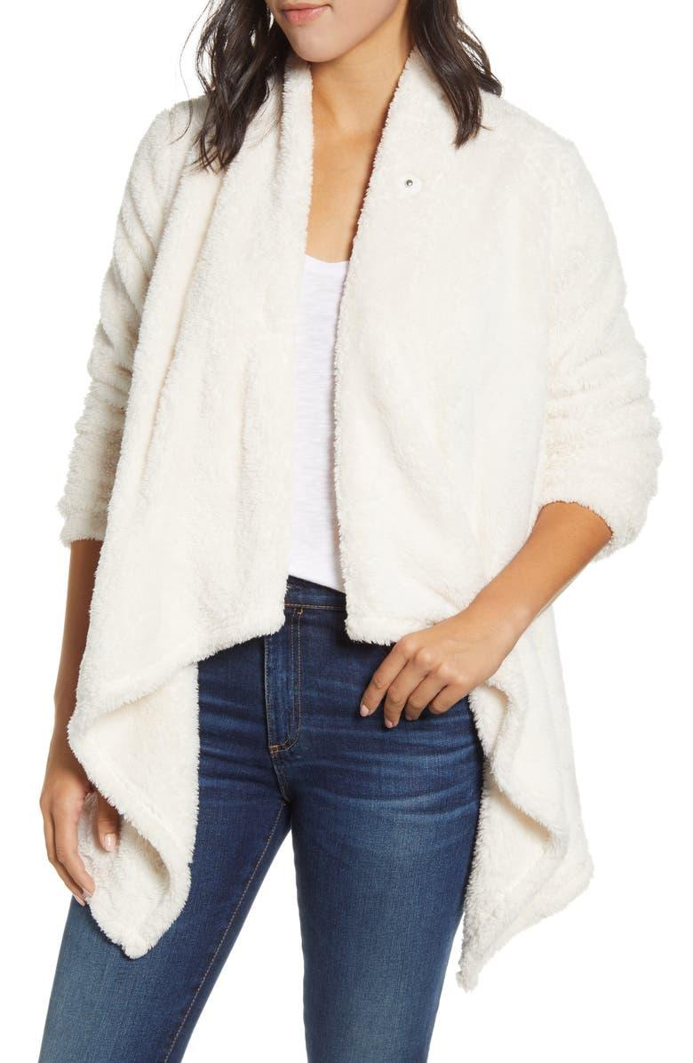 Bobeau drape front fleece cardigan