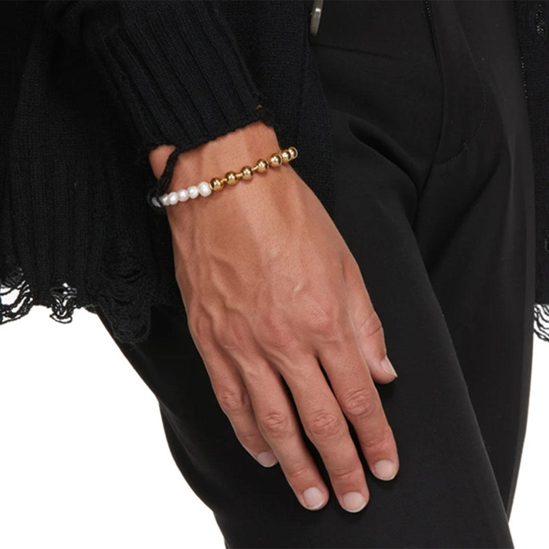 gold ball chain and pearls bracelet