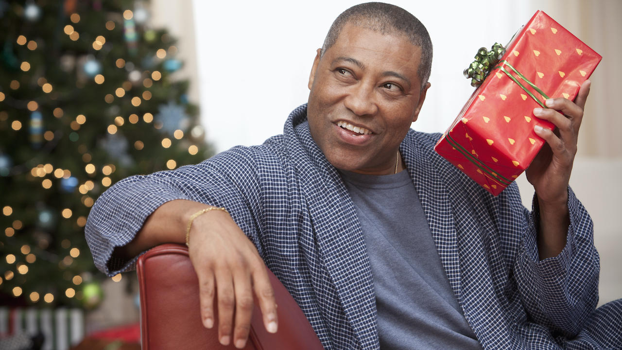 dad opening Christmas present