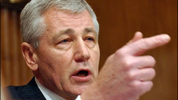 Senate Foreign Relations Committee member, Sen. Chuck Hagel, R-Neb. takes part in a hearing on Iraq before the committee