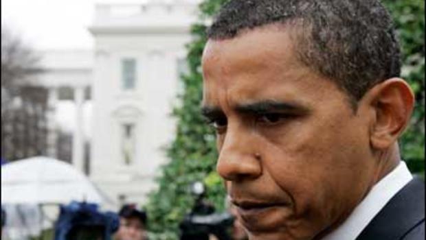 Sen. Barack Obama in front of the White House