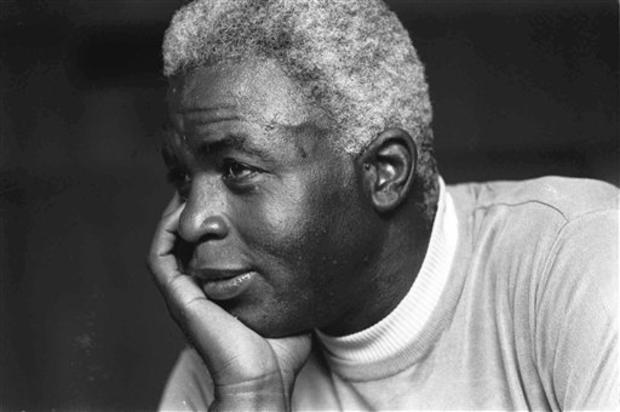 Jackie Robinson looks pensive at his Stamford home