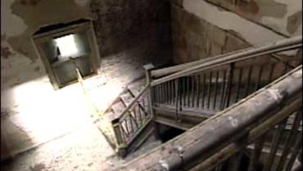 A deserted stairwell at the Ellis Island Hospital where many sick immigrants were treated.