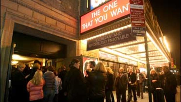 """People line up for the Broadway musical """"Grease,"""" Thursday, Nov. 29, 2007, in New York, for the first performance after a tentative agreement between theater producers and the stagehands union ended a strike that had kept most of Broadway in the dark sinc"""