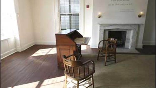 a reproduction of Lincoln's desk at President Abraham Lincoln's Cottage located on the grounds of the Soldier's Home