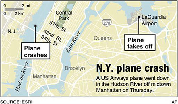 Plane In Hudson Look Back Plane Down In Hudson Pictures CBS - Hudson river on a us map