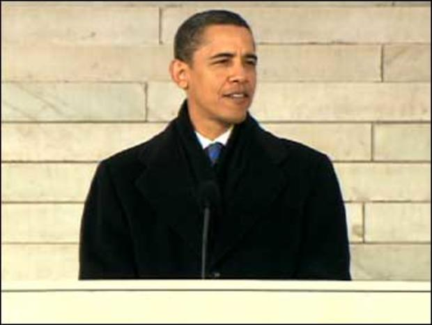 President-elect Barack Obama speaking at the Lincoln Memorial