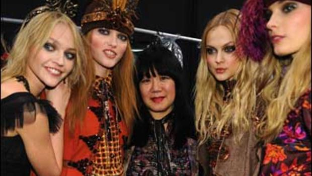 Fashion designer Anna Sui with models backstage during the Anna Sui Fall 2009 Collection