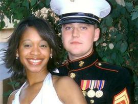 Marine Sgt. Jan Pietrzak, 24, and his wife, Quiana Jenkins-Pietrzak, 26.