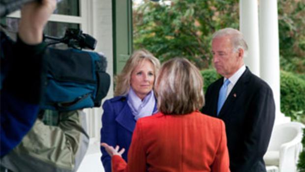 Dr. Jill Biden, with Vice President Joe Biden, are interviewed by CBS News correspondent Rita Braver.