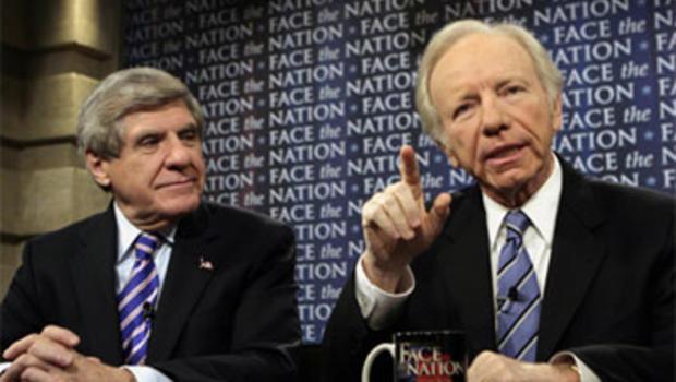"""Sen. Ben Nelson, D-Neb., and Sen. Joe Lieberman, I-Conn., on """"Face the Nation,"""" December 13, 2009."""