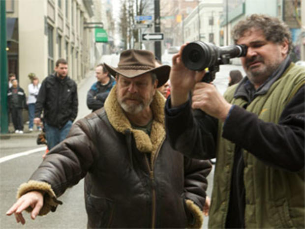 "Director Terry Gilliam and cinematographer Nicola Pecorini shooting ""The Imaginarium of Doctor Parnassus."""