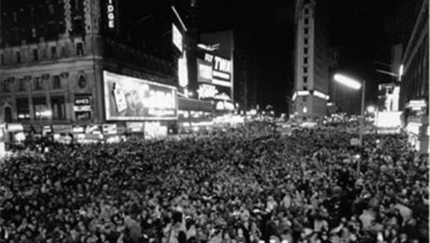 This is a photo looking south from the Marquee of the Hotel Astor during the New Year's Eve celebration in Times Square in New York City on Dec. 31, 1958.