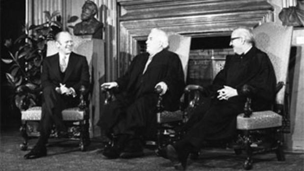 President Gerald Ford with Supreme Court Chief Justice Warren Burger and Associate Justice John Paul Stevens, December 19, 1975.