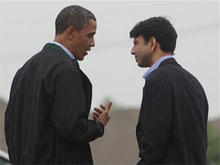 President Barack Obama is greeted by Louisiana Gov. Bobby Jindal, right, as he arrives at Louis Armstrong International New Orleans Airport en route to the Gulf Coast region where he will visit damage caused by the BP oil well spill, Sunday, May 2, 2010.