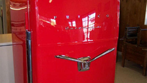 """One very rare refrigerator by Philco, called a """"V-handle,"""" looks like a Cadillac."""