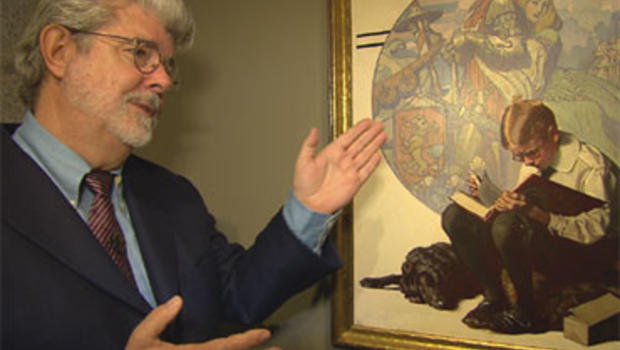 """George Lucas with a 1923 Norman Rockwell painting, """"Boy Reading Adventure Story,"""" from his collection, currently on display at the Smithsonian American Art Museum in Washington, D.C."""