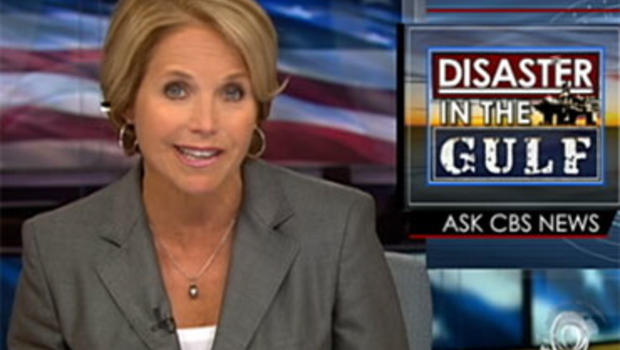 """""""CBS Evening News"""" Anchor Katie Couric answers a viewer question about the Gulf oil spill July 16, 2010."""