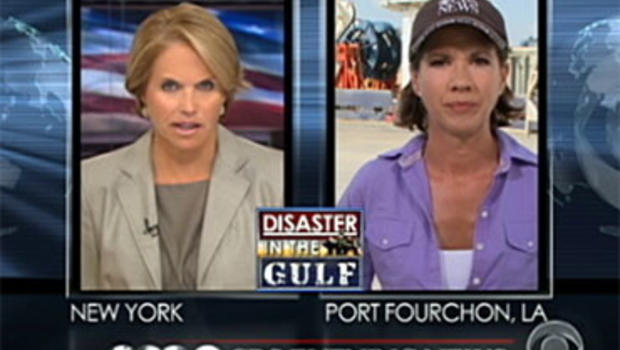 """""""CBS Evening News"""" Anchor Katie Couric asks Kelly Cobiella a viewer question about the Gulf oil spill July 22, 2010."""