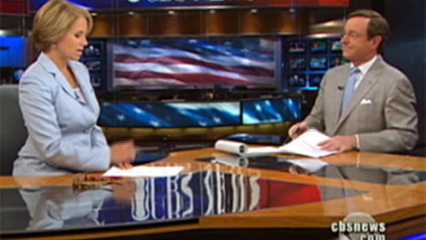 """""""CBS Evening News"""" Anchor Katie Couric asks CBS News Correspondent Anthony Mason a viewer question July 30, 2010."""