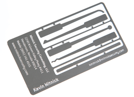 One of Kevin Mitnick's business cards doubles as a lock picking kit.