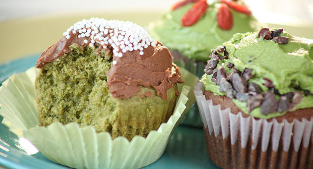 Kelly Keough's sugar-free, gluten free matcha green tea cupcakes.