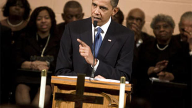 President Barack Obama speaks at Vermont Avenue Baptist Church January 17, 2010 in Washington, DC. President Obama spoke during a service in honor of civil rights leader Dr. Martin Luther King Jr. (Photo by Brendan Smialowski/Getty Images)