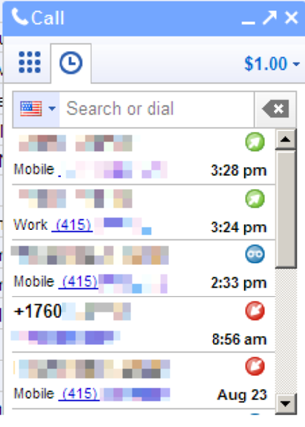 The call history screen on Google's new Web-based voice calling application.