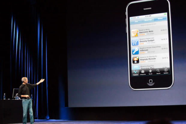 Steve Jobs introduces the updated iPod Touch at the 2009 event.