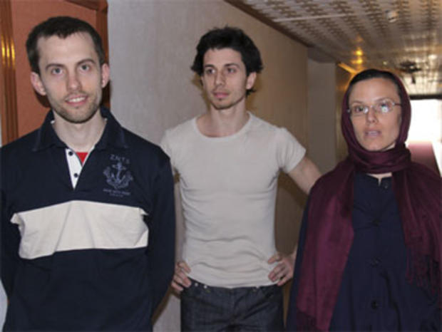 American hikers Shane Bauer, left, Josh Fattal and Sarah Shourd stand prior to meeting with their mothers at the Esteghlal hotel in Tehran, May 21, 2010.
